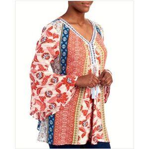1X 3X Crochet Bell Sleeves Peasant BOHO Tunic Top
